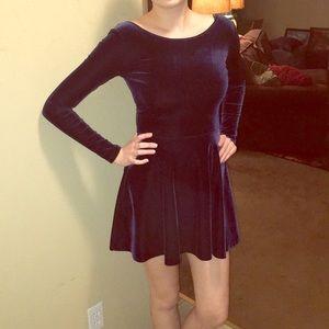 Dresses & Skirts - Navy velvet skater dress